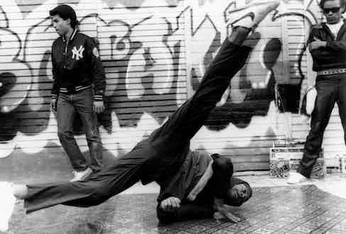 A breakdance scene with Ice T in Breakin, 1984. Photo by Alamy.
