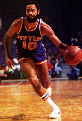 """Walter """"Clyde"""" Frazier competes for the New York Nicks wearing Pumas, circa 1979."""