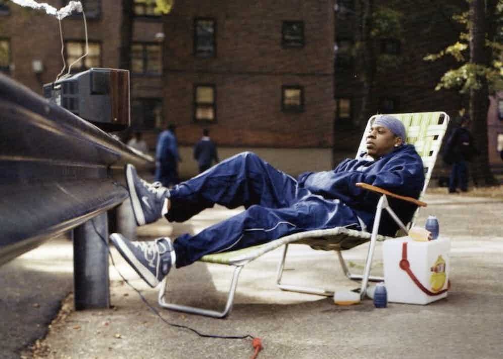 Jay-Z wearing Nike Air Force 1 trainers in the Marcy Project's area of Brooklyn, New York, circa 1992.