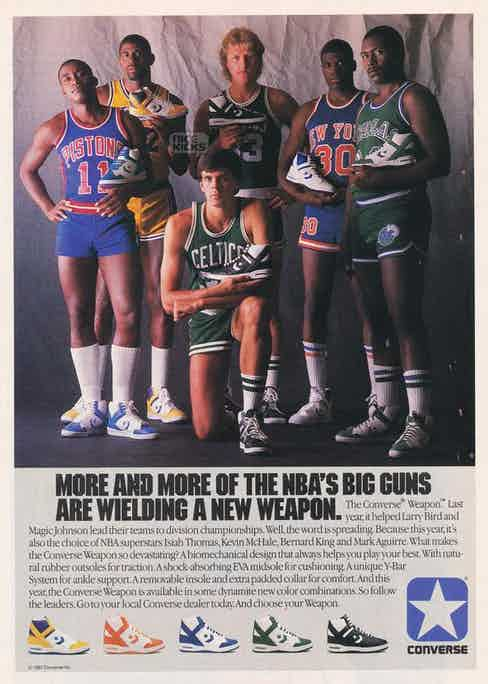 Isiah Thomas, Magic Johnson, Larry Bir, Kevin McHale, Bernard King and Mark Aguirre pose for the Converse 'Weapon' campaign, 1984.