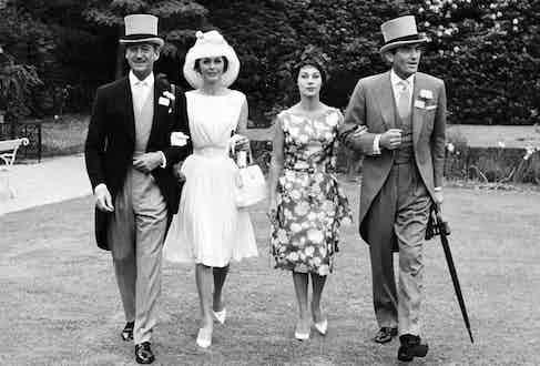David Niven, Hjordis Paulina Tersmeden (nee Genberg), Veronique Peck, Gregory Peck entering Royal Ascot