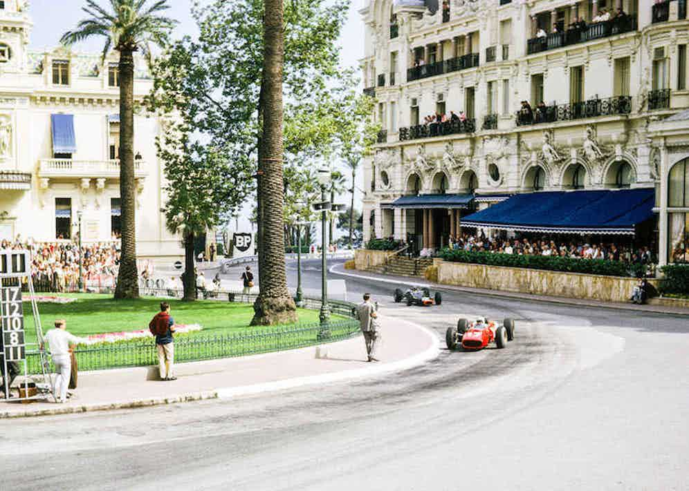 Leaders Surtees and Stewart at Casino Square on the second lap of the Monaco Grand Prix, 1966. Photo by Brian Watson/AlamyStock Photo.