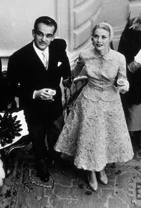 Film star Grace Kelly and Prince Rainier of Monaco sip champagne at a party in Monaco, 1956. Photo by SNAP/REX/Shutterstock.