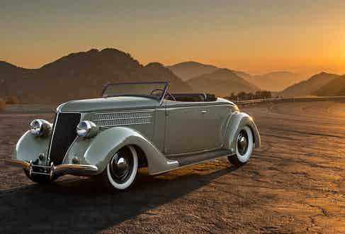 It's powered by a V12 Lincoln flathead engine and features throw-back white-walled tires.
