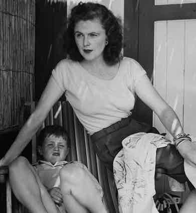 Pamela Churchill with her son, Winston, at Eden Roc, circa 1950s. Photo by John Swope//Time Life Pictures/Getty Images