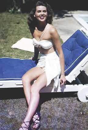 Linda Christian, one of Agnelli's lovers, wearing a bikini in 1955.