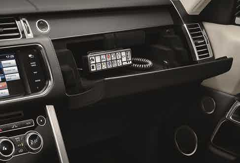 The Sentinel's wired remote panel, hidden in the glovebox, which can perform an array of tasks from dialling '999' to turning on the air-conditioning.