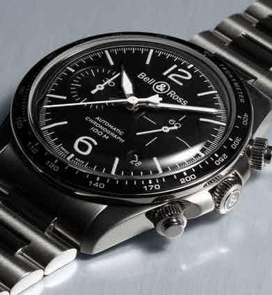 The BR V2-94 boasts a graduated bezel with tachymeter scale, as well as screw-down pushers and crown for added water resistance.