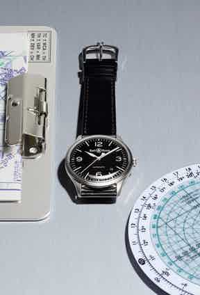 When paired with a simple black leather strap, the BR V1 makes for an ideal everyday timepiece.