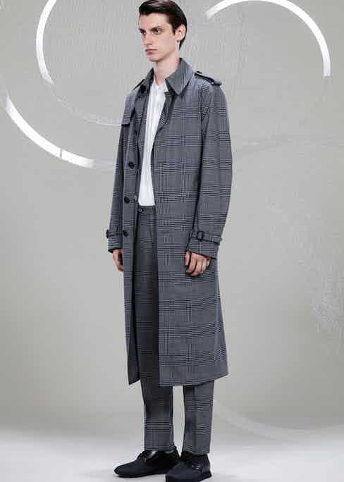 Canali: Glen check all round. A matching trench coat, blazer and trousers in the famed Scottish check.