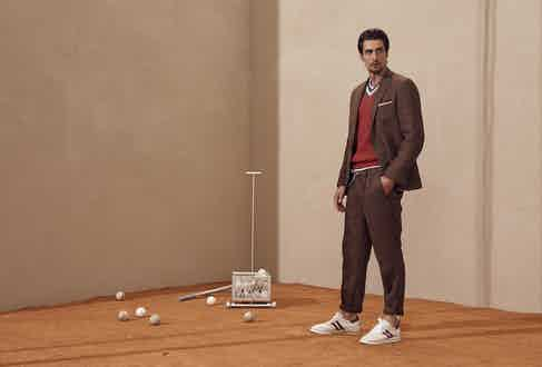 Brunello Cucinelli: Brunello's 'Leisure Suit', complete with rolled hems and a drawstring waist.