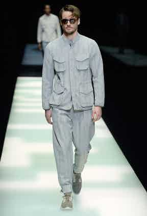 Giorgio Armani: The new suit? A field jacket crafted from the same lightweight fabric as its matching trousers.