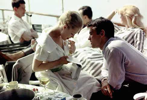 Alain Delon with Romy Schneider in Cannes, 1959.