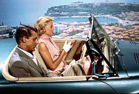 The famous car scene from To Catch a Thief with Grant and Kelly, 1955.