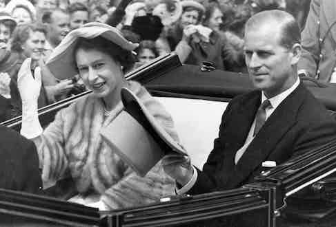 Queen Elizabeth II and Prince Philip arriving in style at Ascot, 1952.