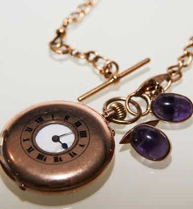 """The cufflinks are set with amethyst stones and are the first present his mother gave his father. Toby wore them on his wedding day. """"I like cufflinks with stones,"""" he says. """"If they are discreet enough I think you can afford to have it on there."""" The pocket-watch was left to Toby when his grandfather, who wore it every day to work, passed away."""