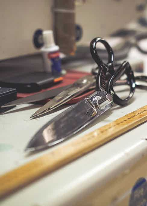 Resting shears used for cutting fabric. Photo by Justin Hast.