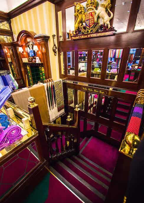 Plush carpets and wood-panelled walls make up Turnbull & Asser's Jermyn Street store.