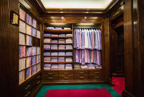 The nightwear section of the store, featuring numerous colourful pyjamas and dressing gowns.