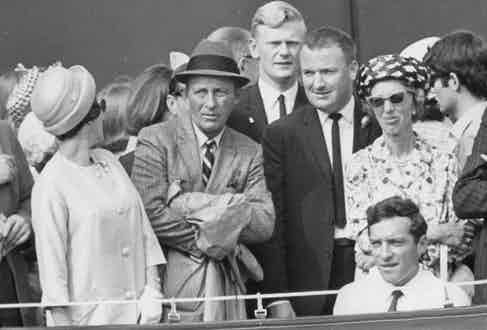 Bing Crosby stands in the crowds as a spectator at Wimbledon, 1977. Photo by Ronald Fortune/ANL/REX/Shutterstock.