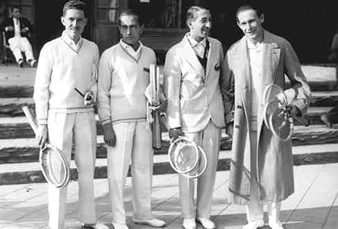 The 1927 French Davis Cup Team: (left to right) Jacques Brugnon, Henri Cochet, René Lacoste and Jean Borotra, otherwise known as the 'Four Musketeers'.