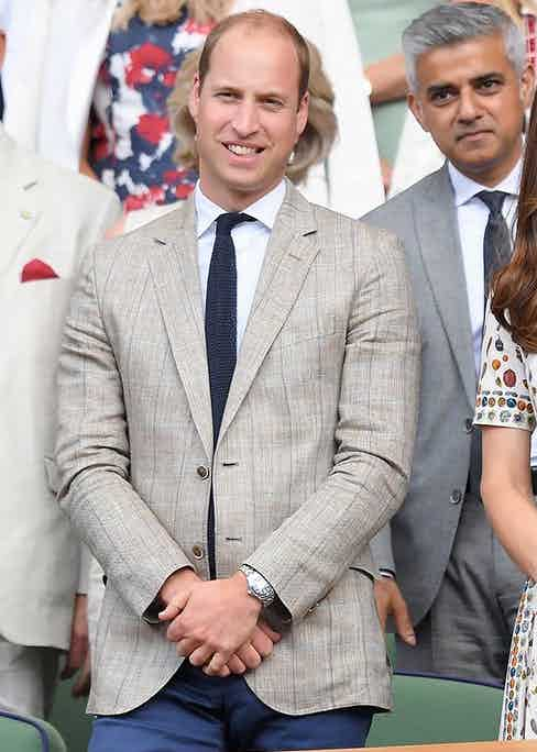 HRH Prince William attends the Men's Final of the Wimbledon Tennis Championships July 10, 2016 in a windowpane check blazer and knitted tie. Photo by Karwai Tang/WireImage.
