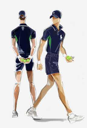 Illustrations of the collection depict the ball person's classic navy uniform.