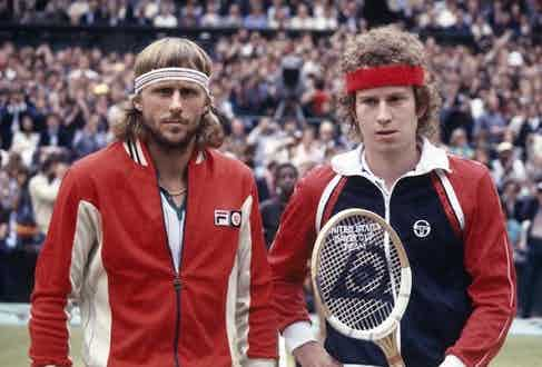Bjorn Borg and John McEnroe both sporting a retro look in 1980.