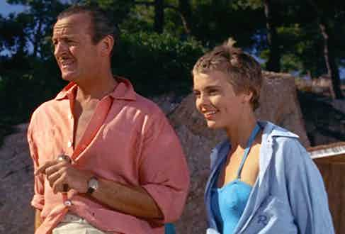 David Niven with Jean Seberg in Bonjour Tristesse, 1958. The film was shot on the French Riviera, with Niven's wardrobe proving to be especially Rakish.