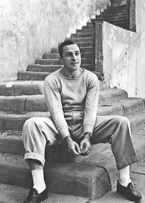 Dressing down tailored trousers with a marl-effect sweatshirt that wouldn't look out of place in a menswear collection today, 1951. Photo by Alfred Eisenstaedt/The LIFE Picture Collection/Getty Images.