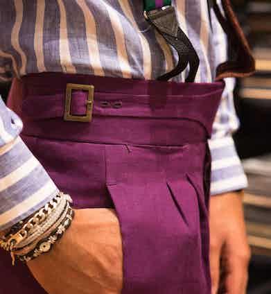 A close-up shot of Rubinacci's belted waist on their Gurkha trousers.