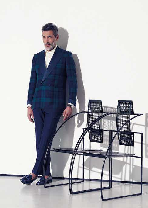 Black watch tartan double-breasted wool with silk lapel jacket, midnight blue wool evening trousers, and ivory cotton pleated front dress shirt*, all Chester Barrie; navy calf leather opera moccasin, Edhèn Milano.