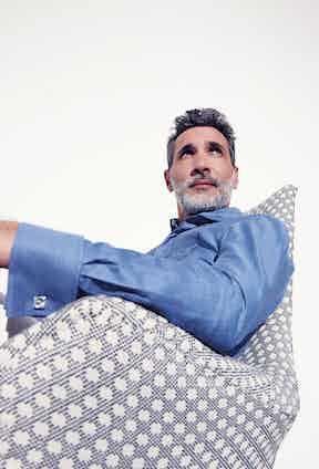 Medium blue denim Carlo Riva twill cotton, Astaire tuxedo shirt, Marol for The Rake*.