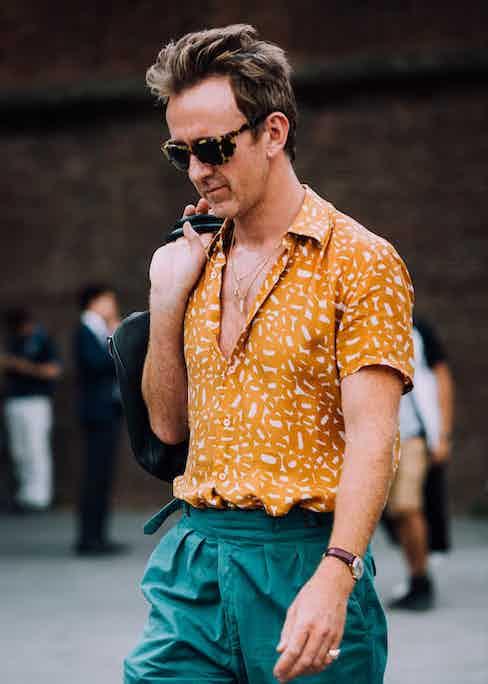 The Rake's Fashion Editor-at-Large, Tom Stubbs, wearing Rubinacci's Manny Gurkha shorts.