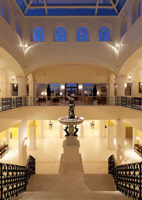 The Yeatman Hotel lobby, with a statue of Bacchus watching over the guests.