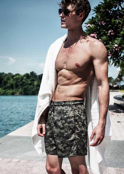 The camo swim shorts, like all of Vilebrequin's shorts, feature industrial-grade metal ends on the drawstring.