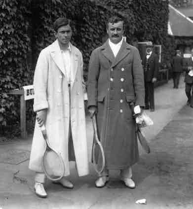 American tennis player Maurice McLaughlin with Ducan at Wimbledon for the final match of the Davis Cup championship, circa 1910. Photo by Hulton Archive/Getty Images.