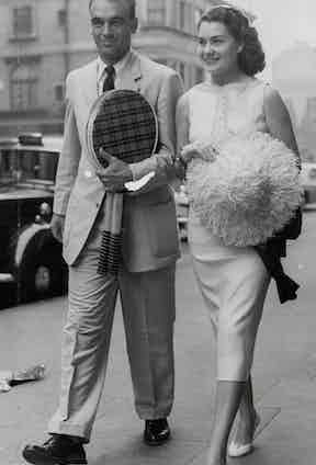 Vic Seixas and his wife Dolly at the tennis, 1956.