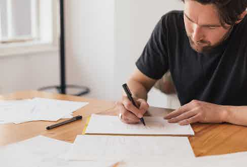 Bennett Winch Creative Director Ruper Shreeve working in the studio.