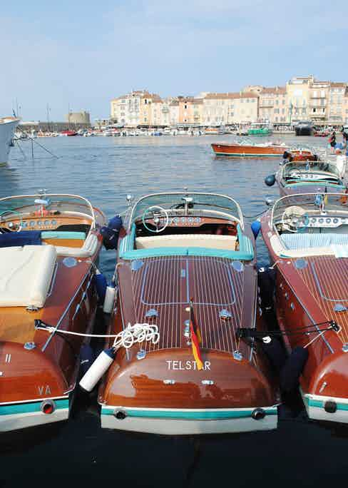 A trio of Riva Runabouts docked in St Tropez.