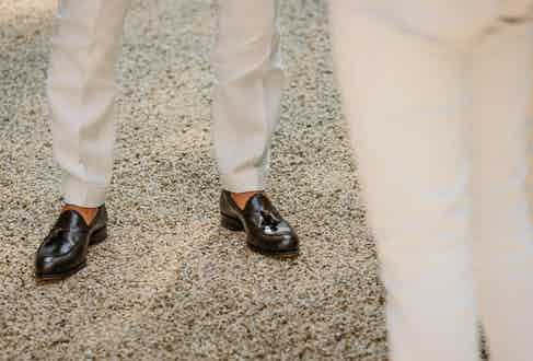 Carmina's Brown Leather Tassel Loafers.