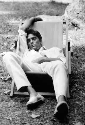 Alain Delon sleeping on the set of Plein Soleil, 1960.