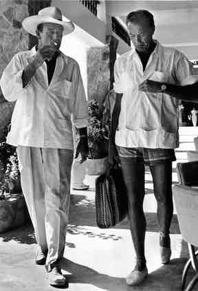 John Wayne and Gary Cooper vacationing in Acapulco, Mexico, circa 1940s.