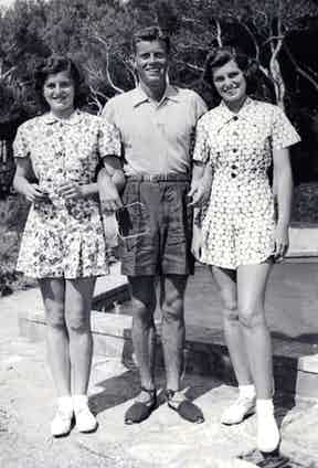 John F. Kennedy with his sisters Eunice and Patricia poolside at the American Embassy in London, 1938.