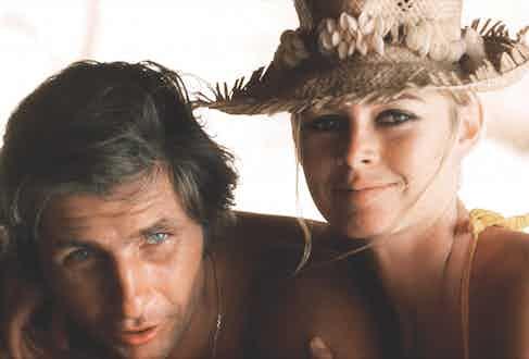 Bardot and Sachs on their honeymoon in Tahiti, 1966.