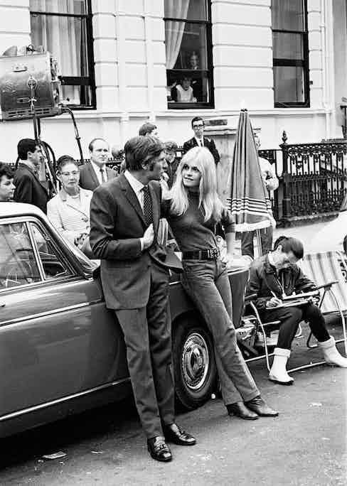 Sachs accompanying Bardot on the set of A Coeur joi, 1966.