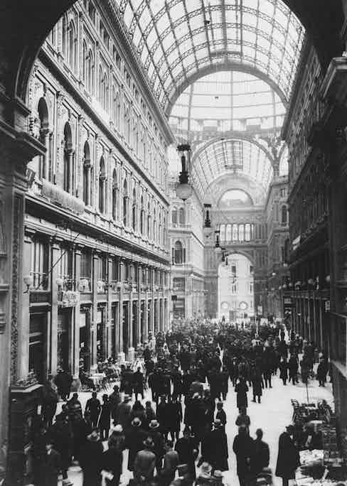 Galleria Umberto, Naples, one of Europe's most famous shopping arcades, circa 1930. Photo by General Photographic Agency/Getty Images.