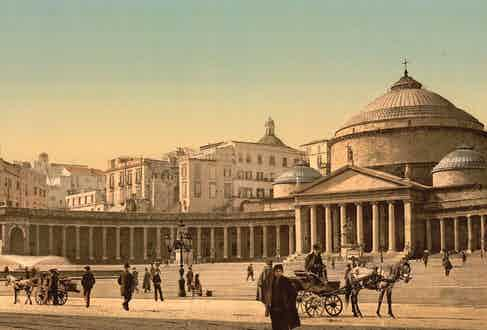 Catedral di San Francesco di Paola, located on the west side of Piazza del Plebiscito - Naples' main square.