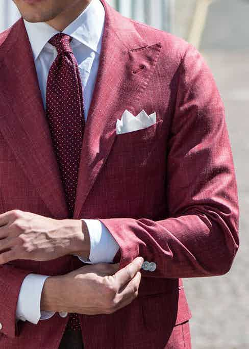 A bold melange blazer by Principe di Eleganza with the telltale soft shoulders characteristic of Neapolitan tailoring.