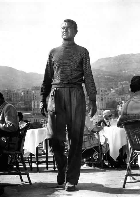 Cary Grant's famous look in To Catch a Thief, 1955. His voluminous, high-waisted trousers are a particular highlight.